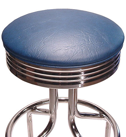 Retro Chrome Bar Stool Seat Detail