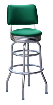 Double Ring Chrome Rim Bar Stool with Backrest