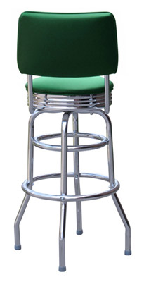 Rear View Double Ring Chrome Rim Bar Stool with Backrest
