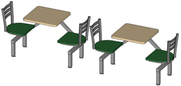 Steel Ladderbackrest Cafeteria Cluster Seating