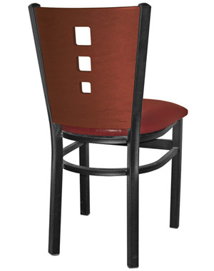Economy Steel 3 Square Revstaurant Chair Rear View