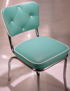 Merveilleux Green And White Diner Chair Diamond Tufted Back Detail ...