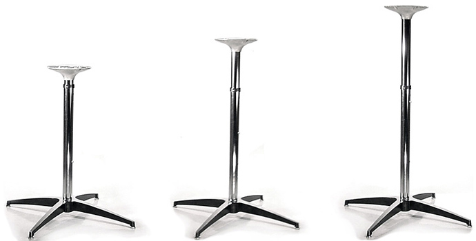 Adjustable Table Base Chrome and              Polished Aluminum Slip Together Set Up
