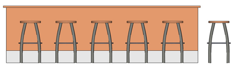 Backless Steel Bar Stool with Oak Seat Installation Elevation Drawing