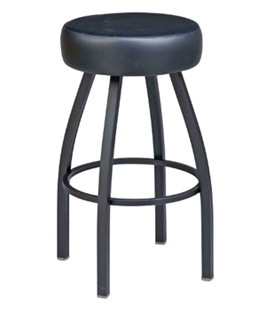 Backless Steel Swivel Seat Bar Stool Large Upholstered Seat