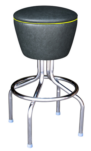 Retro Chrome Drum Bar Stool All Welded Frame Black Vinyl Upholstery with Yellow Piping