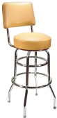 Budget Chrome Bar Stool with Backrest Made In USA