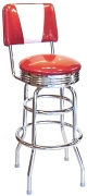 Retro Chrome Bar Stool With Backrest Made In Usa