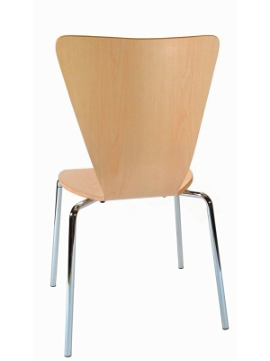 Formed Plywood Seat Chair Rear View Natural Finish