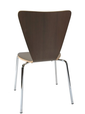 Formed Plywood Seat Chair Rear View Walnut Finish