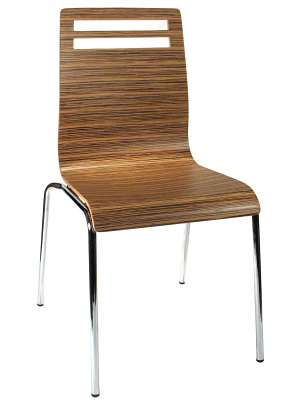Bent Plywood and Laminate Seat Zebra Restaurant Chair Front View