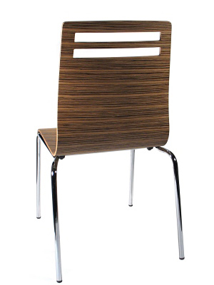 Bent Plywood and Laminate Seat Zebra Restaurant Chair Rear View