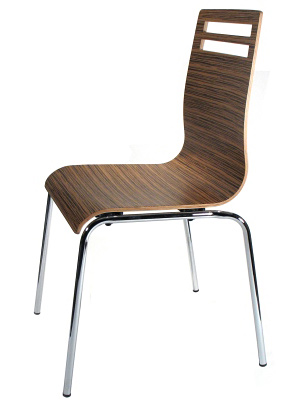 Bent Plywood and Laminate Seat Zebra Restaurant Chair Side View