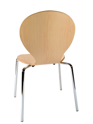 Formed Plywood Seat Chair 2 Rear View Natural Finish