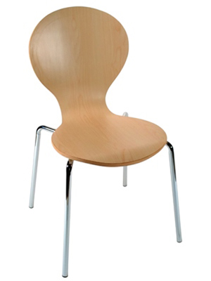 Formed Plywood and Laminate Seat Chair 2 Side View Natural Finish