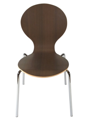 Formed Plywood Seat Chair 2 Front View Walnut Finish