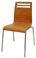 Bent Plywood and Chrome Restaurant Chair KV200