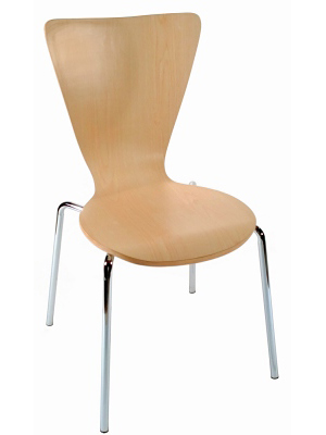 Formed Plywood and Laminate Seat Chair Side View Natural Finish