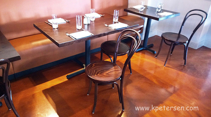 No. 14 Thonet Bentwood Chair Walnut Stain Restaurant Installation At Booth Banquette