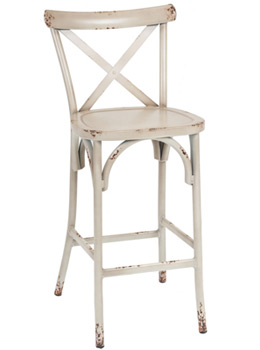 Outdoor Aluminum Bentwood X Back Farmhouse Bar Stools Antiqued White Ivory Front View