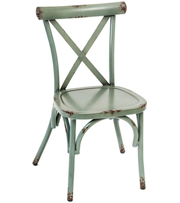 Outdoor Aluminum Bentwood X Back Farmhouse Chair Teal Front View