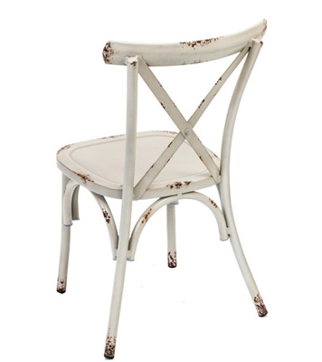 Outdoor Aluminum Bentwood X Back Farmhouse Chair Antiqued White Ivory Rear View