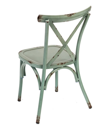 Outdoor Aluminum Bentwood X Back Farmhouse Chair Teal Rear View
