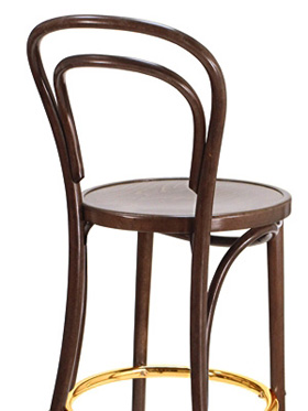 Thonet Style Bentwood Bar Stool Wood Seat Rear View Detail  Thonet Bar Stool S63