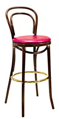Thonet Style Bentwood Bar Stool Upholstered Seat  Thonet Bar Stool S94