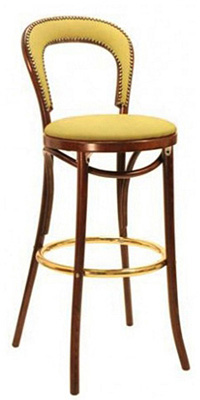 Thonet Style Bentwood Bar Stool Upholstered Seat With Nail Trim Back Thonet Bar Stool75