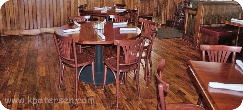 Bentwood Fan Back Cafe Side Chair With Wood Seat Restaurant Installation