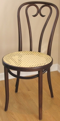 Candy Cane Back Bentwood Chair With Woven Cane Walnut Stain Detail