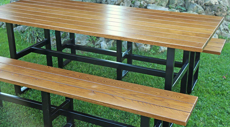 Superb Beer Garden Tables Benches Steel W Chestnut Seats Tops Ocoug Best Dining Table And Chair Ideas Images Ocougorg