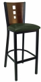 3 Square Steel with Wood Back Bar Stool