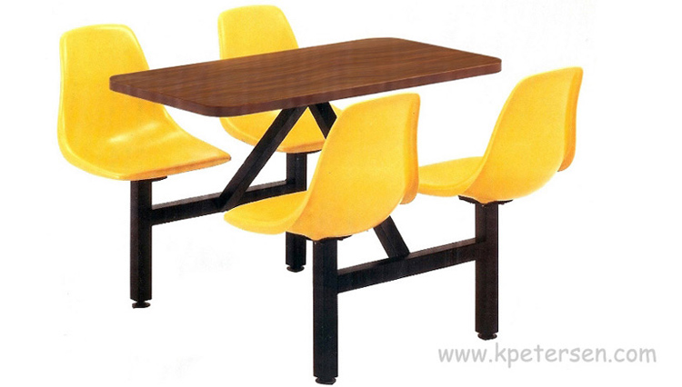Fiberglass Shell Seat Cafeteria Four Seat Rectangular Cluster Seating Unit