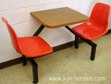 ... Fiberglass Shell Seat Cafeteria Two Seat Rectangular Cluster Seating  Unit Installation