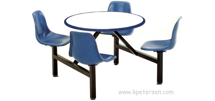 Fiberglass Shell Seat Cafeteria Four Seat Round Cluster Seating Unit