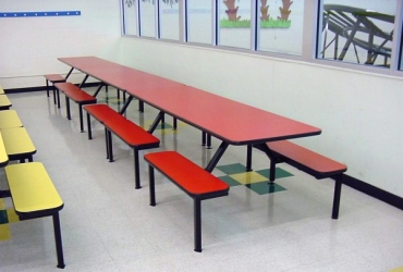Flat Bench Seat Cafeteria Seating