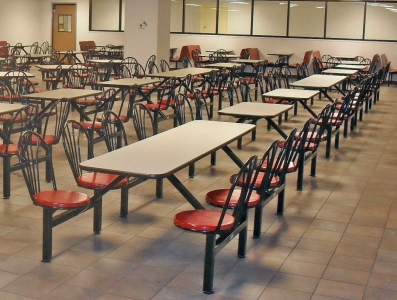 Six Seat Rectangular Cafeteria Seating Cluster