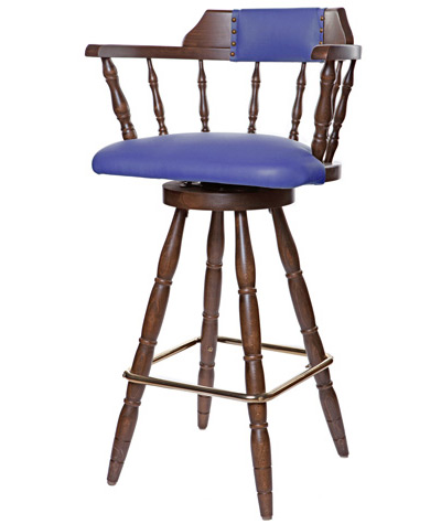 ... Colonial Style Wood Restaurant Dining Room Captains Bar Chair  Upholstered Seat And Back
