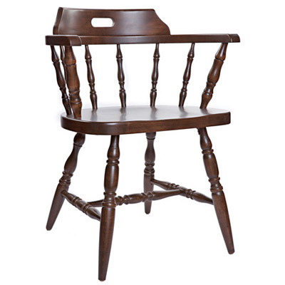 Early American, Colonial Style Wood Restaurant Dining Room Captains  Armchair Wood Seat