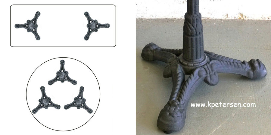 victorian style antique ornate cast iron tripod dining height table base component detail photos