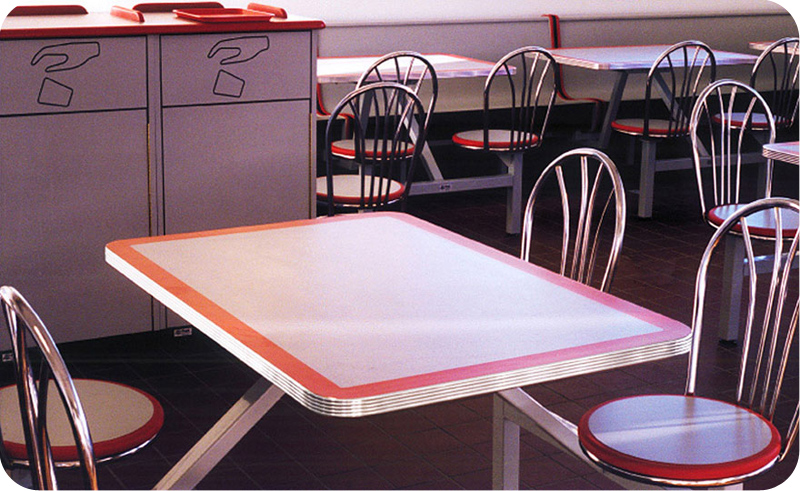 Chrome Edge Table Cafeteria Seating.