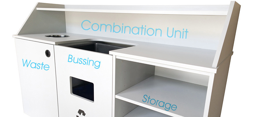 Economy Top Drop Waste Receptacle, Bussing Station, Storage Cabinet Banner