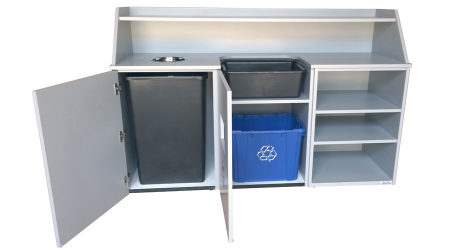 Top Drop Waste Receptacle, Bussing Station, Storage Cabinet Combination Doors Open