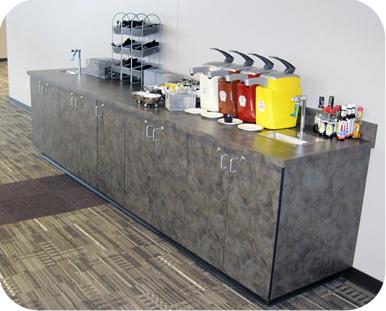 Drink Station Cabinet Installation Condiment Storage