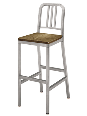 Deco Aluminum Barstool With Dark Stained Wood Veneer Seat