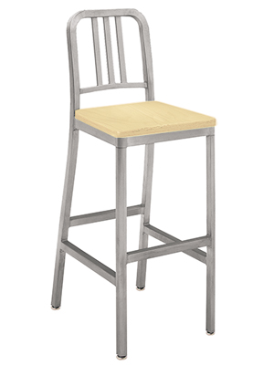 Deco Aluminum Barstool With Natural, Clear Finish Wood Veneer Seat