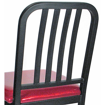 Deco Steel Bar Stool with Upholstered Seat Rear View Detail