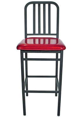 Deco Steel Bar Stool with Upholstered Seat Front View